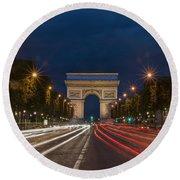 Arch De Triomphe And Avenue Des Champs Elysees Paris France Round Beach Towel