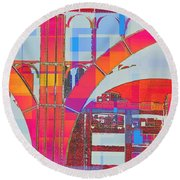 Arch Five  - Architecture Of New York City Round Beach Towel