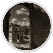 Arch Of Constantine From The Colosseum Round Beach Towel