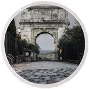 Arch Of Titus Morning Glow Round Beach Towel