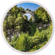 Arch Rock Mackinac Island Michigan Round Beach Towel