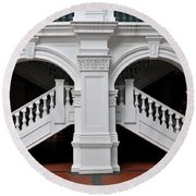 Arch Staircase Balustrade And Columns Round Beach Towel