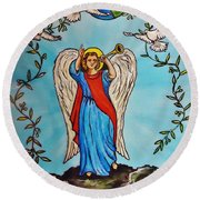 Archangel Gabriel Round Beach Towel