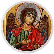 Archangel Michael Icon Round Beach Towel
