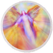Archangel Uriel In Flight Round Beach Towel
