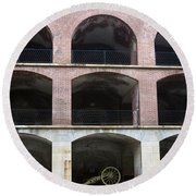 Arched Brick Portals Fort Point San Francisco Round Beach Towel