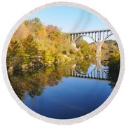 Arched Bridge Over Blue Water Round Beach Towel