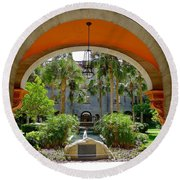 Arched Courtyard Round Beach Towel