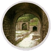 Arched Entrance To Fiesole Theatre Round Beach Towel