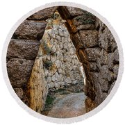Arched Medieval Gate Round Beach Towel