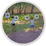 Archery Practice  France Round Beach Towel by Andrew Macara