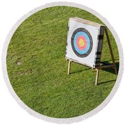 Archery Round Target On A Stand Round Beach Towel