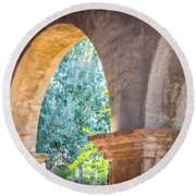 Arches At Mission San Juan Capistrano Round Beach Towel