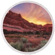 Arches Fire In The Sky Round Beach Towel