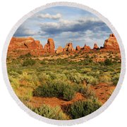 Arches National Park Panorama Round Beach Towel