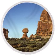 Arches National Park With Balanced Rock And Rock Formations Round Beach Towel