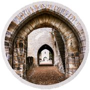 Arches Of Valentre Bridge In Cahors France Round Beach Towel