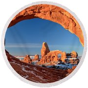 Arches Window Frame Round Beach Towel