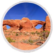 Arches Windows Round Beach Towel