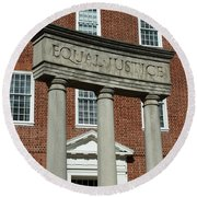 Architectural Columns With Equal Justice Round Beach Towel