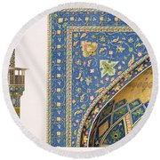 Architectural Details From The Mesdjid I Shah Round Beach Towel