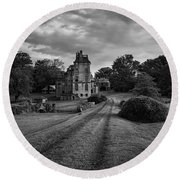 Architectural Treasure Bw Round Beach Towel
