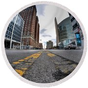 Architecture And Places In The Q.c. Series Delaware To Heart Of Queen City Round Beach Towel