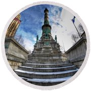 Architecture And Places In The Q.c. Series  Soldiers And Sailors Monument In Lafayette Square Round Beach Towel