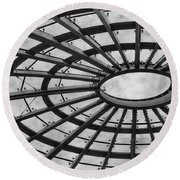Architecture Ceiling In Black And White Round Beach Towel