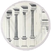 Architecture I Orders Of Architecture Engraved By Charles Lawrie Round Beach Towel