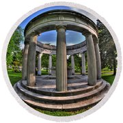Architecture Of Forest Lawn  Round Beach Towel