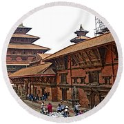 Architecture Of Patan Durbar Square In Lalitpur-nepal Round Beach Towel