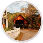 Architecture - Woodstock Vt - Entering Woodstock Round Beach Towel by Mike Savad