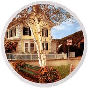 Architecture - Woodstock Vt - Where I Live Round Beach Towel by Mike Savad