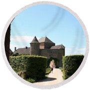 Archway Chateau Of Berze Round Beach Towel