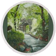 Archway In Central Park Round Beach Towel