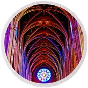 Archway In Grace Cathedral In San Francisco-california Round Beach Towel