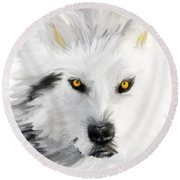 Arctic Wolf With Yellow Eyes Round Beach Towel