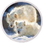 Arctic Wolves - Painterly Round Beach Towel