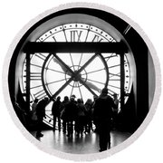 Are We In Time... Round Beach Towel