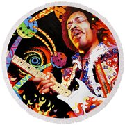 Jimi Hendrix Are You Experienced Round Beach Towel