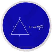 Area Of An Isosceles Triangle Dk Blue/wht Round Beach Towel