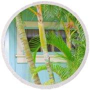 Areca Palms At The Window Round Beach Towel