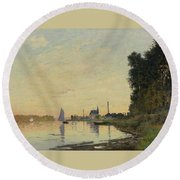 Argenteuil Late Afternoon Round Beach Towel