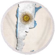 Argentina Map Art With Flag Design Round Beach Towel