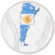 Argentina Painted Flag Map Round Beach Towel