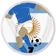 Argentina Soccer Player2 Round Beach Towel