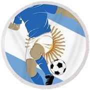 Argentina Soccer Player3 Round Beach Towel