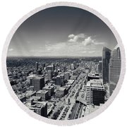 Arial View Of Calgary Facing West Round Beach Towel