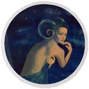 Aries From Zodiac Series Round Beach Towel by Dorina  Costras